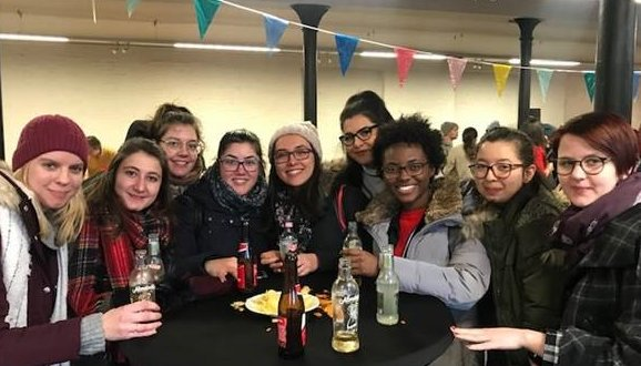Exchange students at the welcome moment in 2018