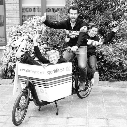 Man riding cargo bike from sports department Artevelde University of Applied Sciences